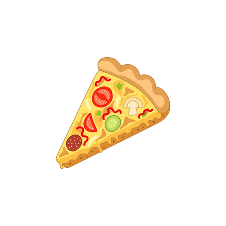 Vector pizza slice. Fast food flat cartoon isolated illustration on a white background. Pepperoni, cheese, olives. Italian food icon. Restaurant, cafes advertising object