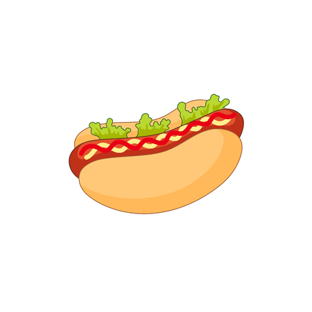 hot dog: Vector sausage hot dog with salad and vegetables. Fast food flat cartoon isolated illustration on a white background. fresh sandwich with sauce and salad