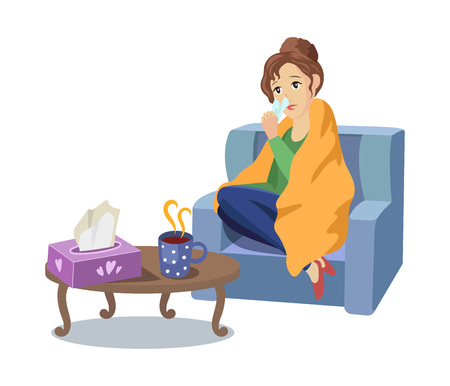 Vector illness concept, cartoon illustration isolated on a white background. Adult woman sitting in armchair in blanket in front of the table with hot tea and napkins suffering from cold, sneezing. Illustration
