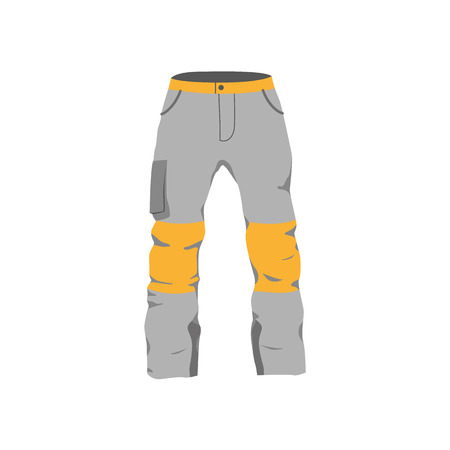 vector snowboarding pants flat icon. Isolated illustration on a white background. Snowboard, ski winter activity equipment, tools object design.