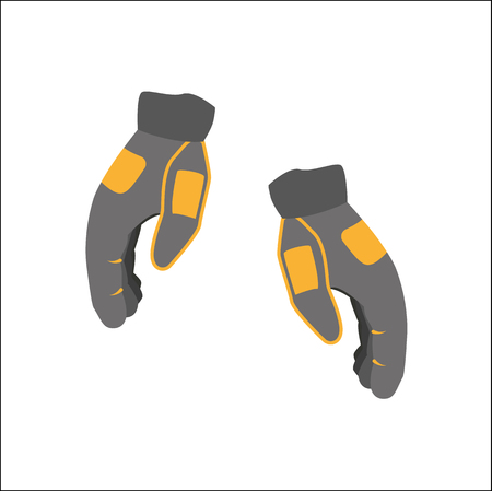 vector snowboarding gloves flat icon. Isolated illustration on a white background. Snowboard, ski winter activity equipment, tools object design. Illustration