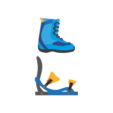 vector snowboarding boots, foot bindings flat icon. Isolated illustration on a white background. Snowboard, ski winter activity equipment, tools object design.