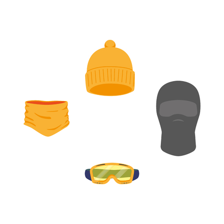 vector snowboarding equipment set - cap balaclava goggles mask flat icon. Isolated illustration on a white background. Snowboard, ski winter activity equipment, tools object design.