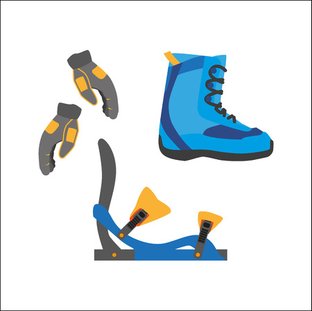 vector snowboarding equipment set - boots with bindings gloves flat icon. Isolated illustration on a white background. Snowboard, ski winter activity equipment, tools object design.