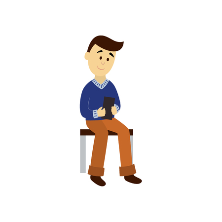 vector adult man in warm pullover reads the book sitting on public transport bench. Flat cartoon illustration isolated on a white background. Bus subway underground transport characters concept design Illustration