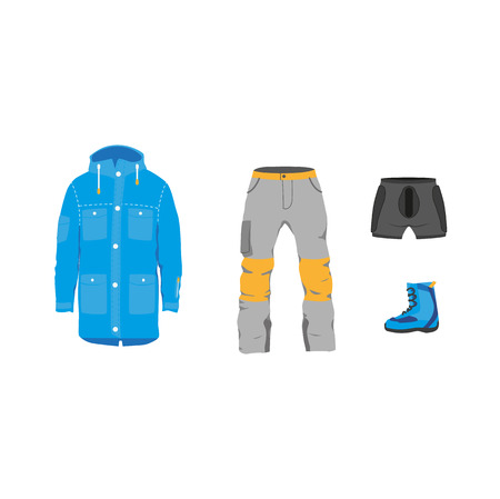 vector snowboarding equipment, clothing set - jacket pants boots, protection armor flat icon. Isolated illustration on a white background. Snowboard, ski winter activity equipment, tools object design.