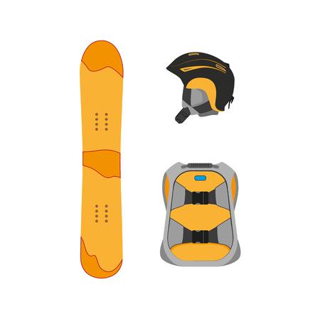 vector snowboarden helm, rugzak, snowboard dek platte pictogram. Geïsoleerde illustratie op een witte achtergrond. Snowboard, ski-winteractiviteiten, gereedschappen, objectontwerp. Stock Illustratie