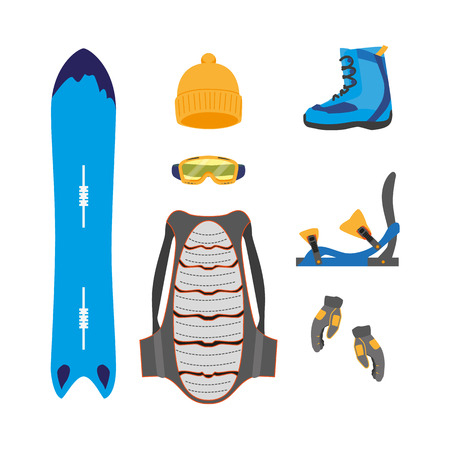 vector snowboarding equipment set - backpack cap boots goggles gloves, back protection armor, bindings deck cover flat icon. Isolated illustration on a white background.