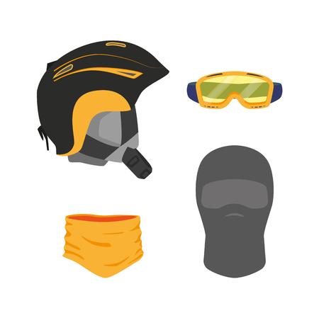 벡터 스노우 보드 머리 장비 세트 - 헬멧 고글 마스크 balaclava 스카프 평면 아이콘입니다. 흰색 배경에 고립 된 그림입니다. 스노 보드, 스키 겨울 활동  일러스트