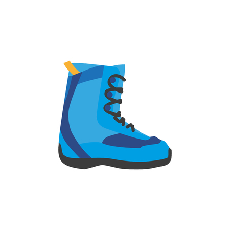 vector snowboarding boots flat icon. Isolated illustration on a white background. Snowboard, ski winter activity equipment, tools object design.