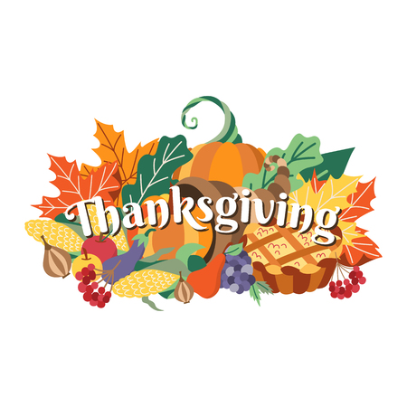 Group of thanksgiving symbols, food, decoration elements – horn of abundance, pumpkin pie, fruits, vegetables, cartoon vector illustration isolated on white background. Cartoon thanksgiving background