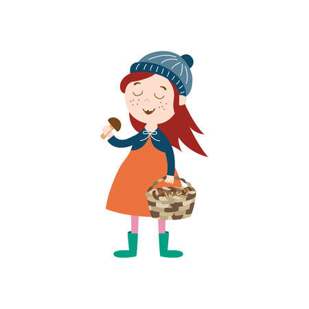 vector girl child wearing coat, knitted hat rubber boots keeping basket in her hand collecting mushrooms. cartoon isolated illustration on a white background. Autumn activity kids concept Illustration
