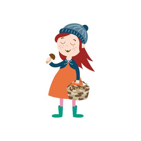 vector meisje kind dragen jas, gebreide muts rubberen laarzen houden mandje in haar hand verzamelen van paddestoelen. cartoon geïsoleerde illustratie op een witte achtergrond. Herfst activiteit kinderen concept