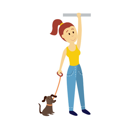 vector adult woman holds the handrail keeping dog leash in her hand. Flat cartoon illustration isolated on a white background Public transport - bus underground subway characters concept design