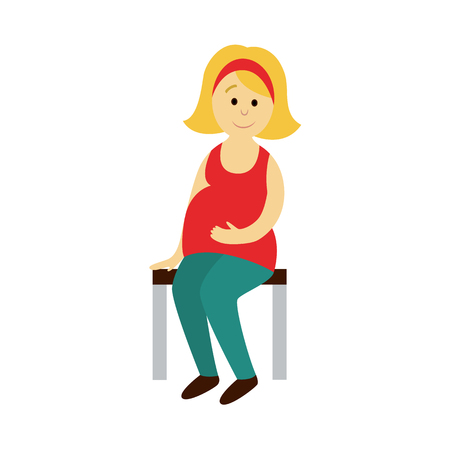 vector adult pregnant woman sits on a public transport bench Flat cartoon illustration isolated on a white background Public transport bus underground subway characters concept design. Illustration