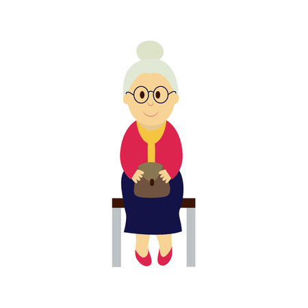 vector old grey-haired woman sits on a public transport bench keeping purse at knees. Flat illustration isolated on a white background Public transport bus underground subway characters concept design