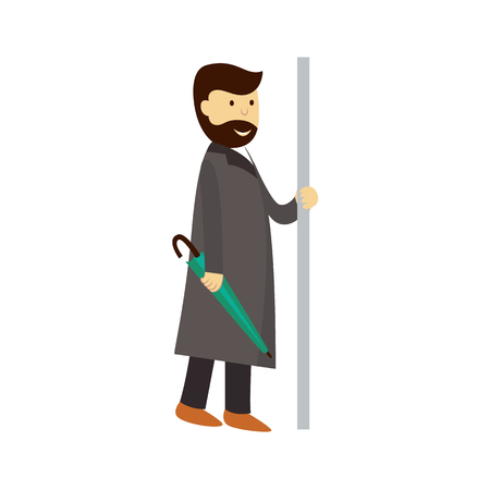 vector man in grey coat holds the handrail keeping closed umbrella in hand. Flat cartoon illustration isolated on a white background. Public transport - subway, bus characters concept design Illustration