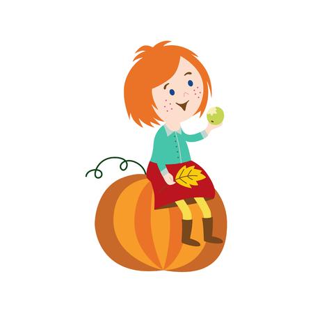 vector rood-haar meisje kind dragen rok, rubberen laarzen zittend op grote pompoen herfstbladeren in de hand te houden. cartoon geïsoleerde illustratie op een witte achtergrond. Herfst activiteit kinderen concept