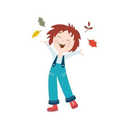 vector girl child wearing overalls ,rubber boots rejoices, cheerful throwing autumn leaves up . cartoon isolated illustration on a white background. Autumn activity kids concept