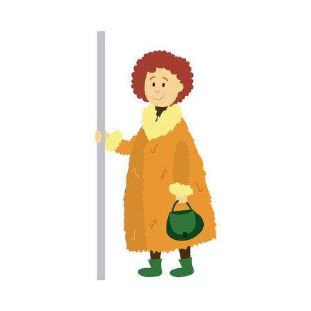 vector adult woman in warm winter wool jacket holds the handrail keeping handbag, purse in her hand. Flat cartoon illustration isolated on a white background Public transport characters concept design
