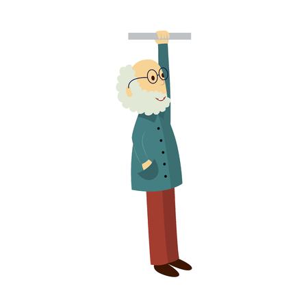 벡터 안경 및가 재킷에 회색 수염을 가진 오래 된 남자는 손잡이를 보유하고있다. 흰 배경에 고립 된 평면 만화 일러스트 레이 션. 대중 교통 - 지하철,
