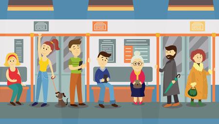 Persone in metropolitana treno auto, seduta sui sedili, in piedi e in possesso di corrimano, illustrazione vettoriale cartoon. Ritratto a figura intera di persone, uomini e donne, seduto e in piedi nel treno della metropolitana Archivio Fotografico - 83553272