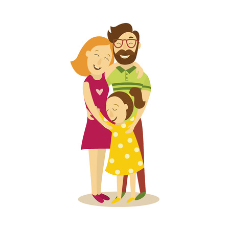 vector full family hugging. Flat cartoon isolated illustration on a white background. Adult couple and young girl daughter hug each other happily. Happy family hugs concept