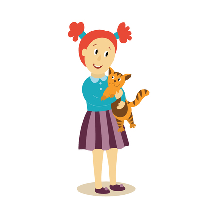 Vector jong meisje knuffels knuffels haar kat platte geïsoleerde illustratie op een witte achtergrond. Kind, kind in gestreepte rok omarmen haar huisdier met liefde. Gelukkige familie knuffels concept Stockfoto - 83553276