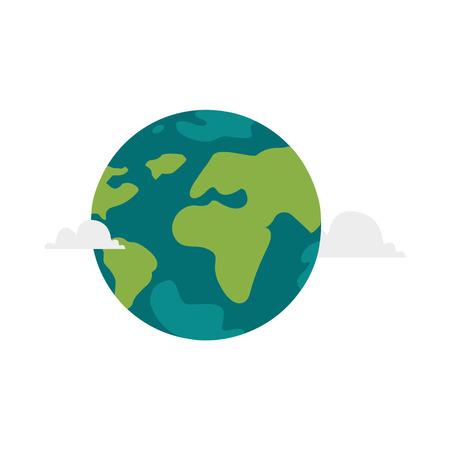 벡터 만화 평면 세계 그림 흰색 배경에 고립. 대륙, 바다와 구름과 평면 지구 행성. 웹 아이콘 디자인 개체입니다. 행성 개념 저장