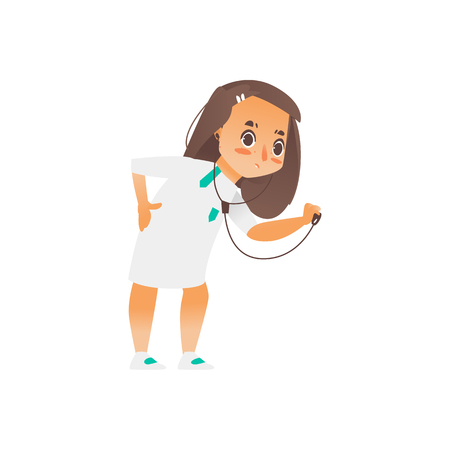 Vector flat cartoon girl doctor holding stethoscope examining somebodys lungs. Isolated illustration on a white background. Child, kid character in white medical gown