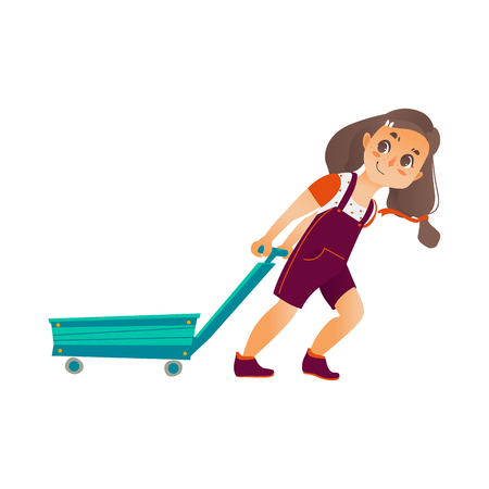 Vector Flat cartoon happy girl pulling empty cart. Isolated illustration on a white background. Child, kid character