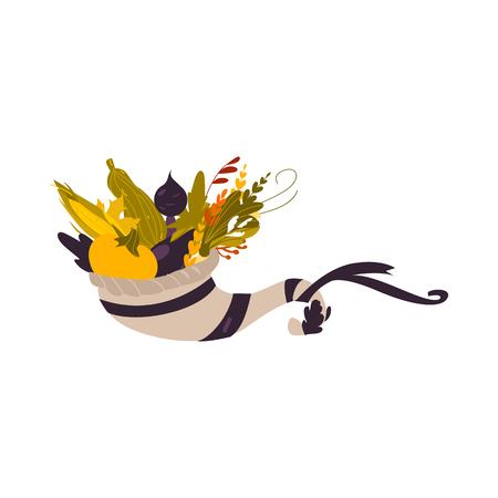 Cornucopia, horn of abundance, autumn harvest, herbs and vegetables, cartoon vector illustration isolated on white background. Cartoon cornucopia, horn of abundance, thanksgiving symbol, decoration Çizim