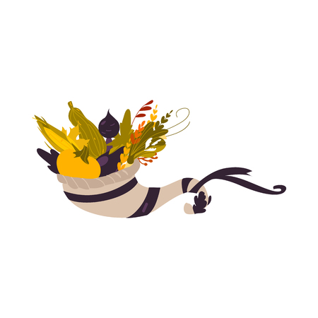 Cornucopia, horn of abundance, autumn harvest, herbs and vegetables, cartoon vector illustration isolated on white background. Cartoon cornucopia, horn of abundance, thanksgiving symbol, decoration Illustration