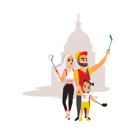 Vector family couple makes selfie on the background of muslim mosque. Flat cartoon style Isolated illustration on a white background. Man woman and child girl makes photo by selfie stick on vacation