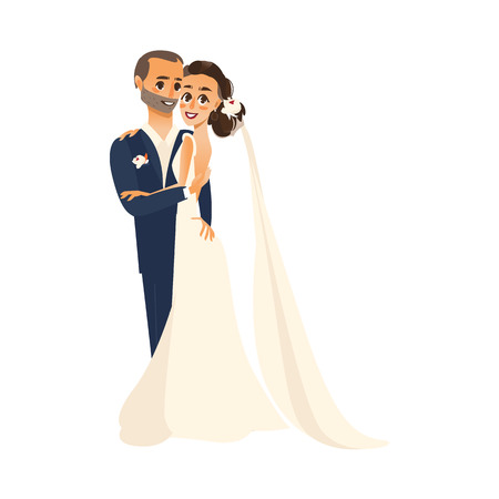 vector groom and bride newlywed couple holding and hugging each other flat cartoon illustration isolated on a white background. Wedding concept character design Illustration