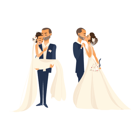 vector groom and bride newlywed couple kissing each other, set flat cartoon illustration isolated on a white background. Wedding concept character design Illustration