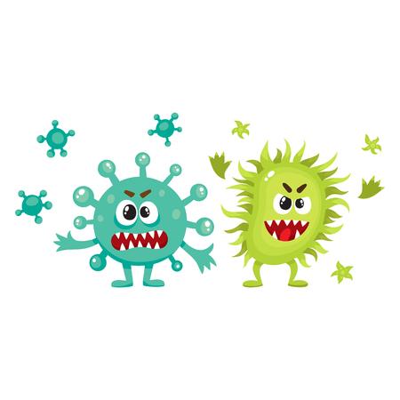 Paar virus, kiem, bacteriën karakters met menselijke gezichten en scherpe tanden, cartoon vectorillustratie op witte achtergrond. Enge bacteriën, virussen, kiemmonsters, ziekteverwekkers, micro-organismen