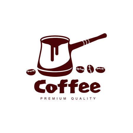 Vector Turkse koffie cezve pot. Koffie concept platte pictogram. lijn pictogram illustratie geïsoleerd op een witte achtergrond. Stock Illustratie