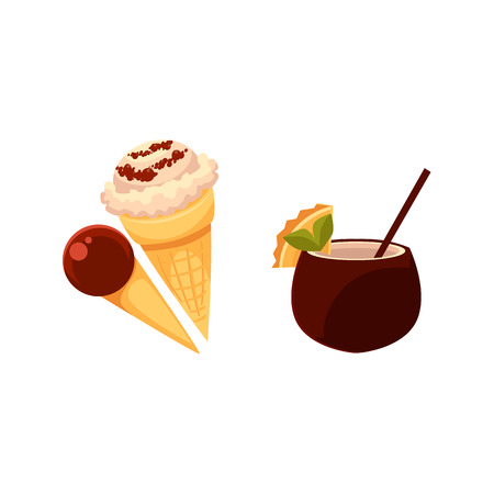 cornet: Summer refreshments - vanilla and chocolate ice cream cones, cocktail in coconut shell, cartoon vector illustration isolated on white background. Cartoon style ice cream cones and coconut drink