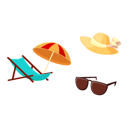 Summer vacation objects - lounge chair, beach umbrella, straw hat, sunglasses, cartoon vector illustration isolated on white background. Cartoon lounge chair, beach umbrella, straw hat, sunglasses Illustration
