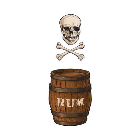 vector houten rumvat, schedel en dwarsbeenderen geïsoleerde illustratie op een witte achtergrond. Cartoon eiken oud vaatje, alcoholopslag, vrolijke roger. Symbool van piraten, avontuur, schat
