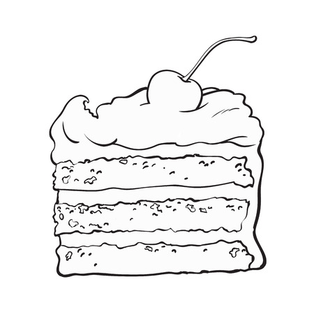 black and white hand drawn piece of classic layered cake with vanilla cream and cherry decoration, sketch style vector illustration isolated on background. Realistic hand drawing of sweet cake