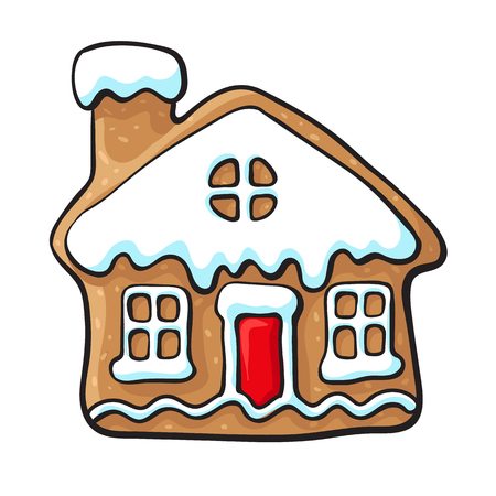 Glazed house-shaped homemade Christmas gingerbread cookie, sketch style vector illustration isolated on white background. Christmas glazed gingerbread cookie in shape of village house Иллюстрация