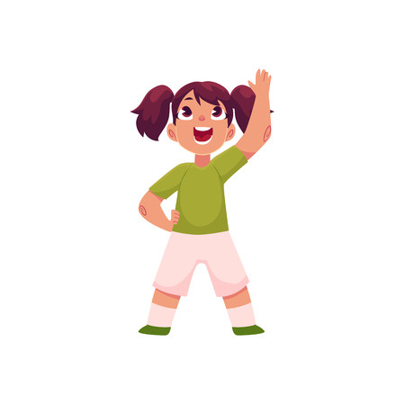Little girl with ponytails doing morning exercises, part of her daily routine, cartoon vector illustration isolated on white background. Little girl in shorts and t-shirt doing morning exercises