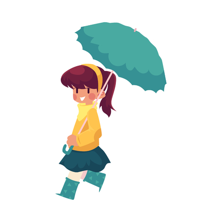 vector girl child wearing blue rubber boots, jacket walking keeping umbrella in hand. cartoon isolated illustration on a white background. Autumn activity kids concept Illustration