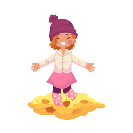 vector girl child wearing knitted hat ,rubber boots rejoices, cheerful throwing autumn leaves up . cartoon isolated illustration on a white background. Autumn activity kids concept