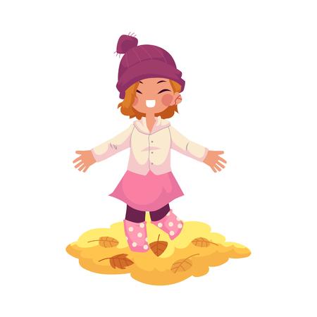 vector meisje kind dragen gebreide muts, rubber laarzen verheugt zich, vrolijke gooien herfst bladeren omhoog. cartoon geïsoleerde illustratie op een witte achtergrond. Herfst activiteit kinderen concept