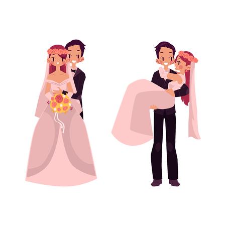 Vector groom and bride character set isolated. groom carrying bride holding her in his arms, newlywed couple stands hugging. Isolated illustration on a white background