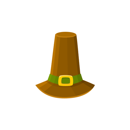 Comic style pilgrim hat, Thanksgiving Day symbol, cartoon vector illustration isolated on white background. Cartoon style pilgrim hat isolated on white background Ilustração