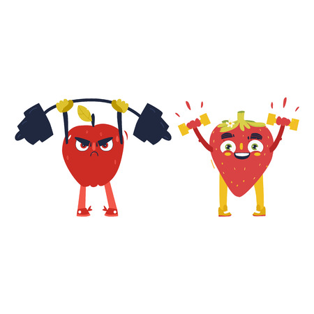 Funny apple and strawberry characters working out in gym, weight lifting, cartoon vector illustration isolated on white background. Funny fruit characters - apple and strawberry, sport heroes